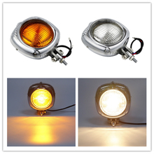 Motorcycle Retro Electroline Headlight Orange Lens For Harley Chopper Bobber Custom Bikes