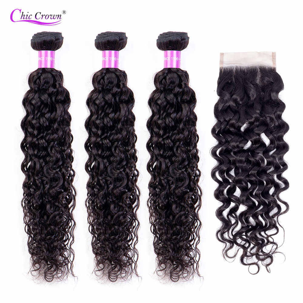 Water Wave Bundles With Closure 100% Human Hair Weave 3 Bundles With Closure Chic Crown Malaysian Hair Bundles With Closure