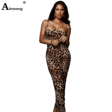 Aimsnug Sexy Leopard Print Snake Skin Dress Women Backless Bodycon Slim Pencil Plus Size Maxi Elegant Party