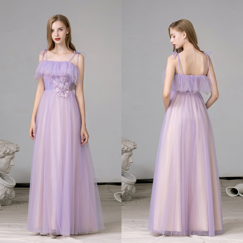 REAL PHOTO Spaghetti Straps Purple LACE Beach  Party Evening Gown Prom Dress FACTORY PRICE