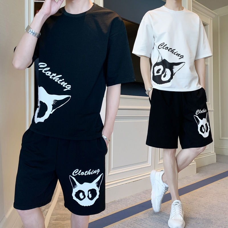 2 Piece Set Korean Clothes Short-sleeve Sweatshirt Suit Men Loose Tops Two Pieces Sweatpants Tiktok Men's Clothing  Jogger Sets