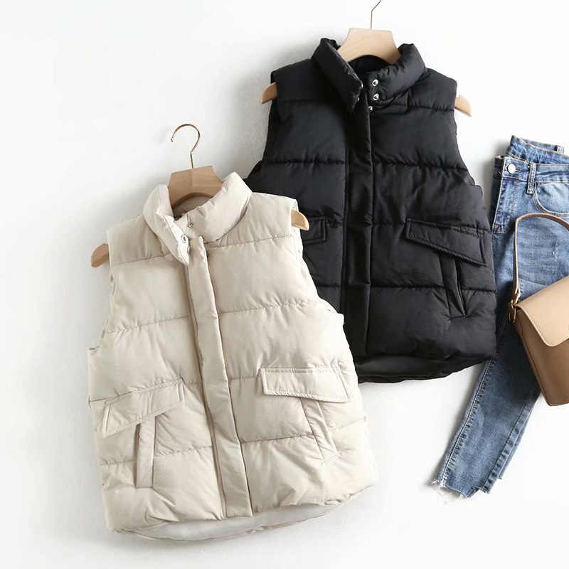 Europe Stand Collar cuffed Cotton Vest Jacket Female Winter Warm  waistcoat Letter zipper Vest Lady outwear