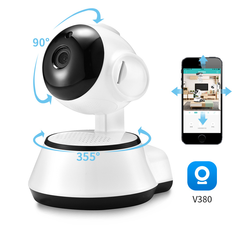 V380 WiFi IP kamera do domowego systemu alarmowego bezprzewodowy inteligentny aparat fotograficzny bezprzewodowy dostęp do internetu zapis Audio nadzoru panoramiczny aparat niania elektroniczna Baby Monitor kryty