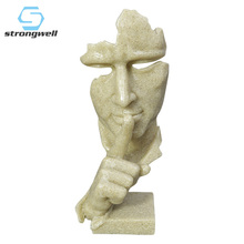 Creative Resin Statues Sculpture Modern Human Thinking Meditators Abstract Art Crafts Character Figurine Home Decor Gold White