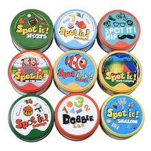 Cartes Dobble/Spot It, jeu de société pour enfant, idéal comme cadeau, jouet avec boîte en fer, 16 style différents, sport, camping, tendances, animaux, alphabet, 123,