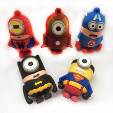 Aranha/superman/batman pendrive128gb 64 gb 32 8 gb 16 gb pen drive super do minion da movimentação do flash de usb do super-herói dos desenhos animados(China)