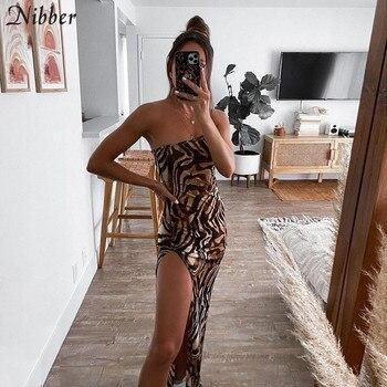 Nibber Vintage Elegant Maxi Dress For Women Summer Sleeveless Slim High Street 2021 Graceful Banquet Party Sexy High Split Dress 2