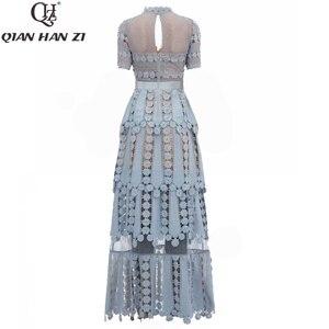 Image 2 - Qian Han Zi 2019 дизайнерское модное подиумное Макси платье женские с коротким рукавом с вышивкой кружевные Элегантные Длинные вечерние платья