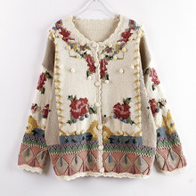 Women Autumn Fashion Embroidered Flower Sweaters Hand-made Knitted Cardigans Top