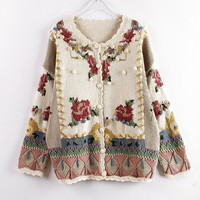 Women Autumn Fashion Embroidered Flower Sweaters Hand made Knitted Cardigans Top Elegant Retro Hook Pompom Cute Sweaters Jumpers