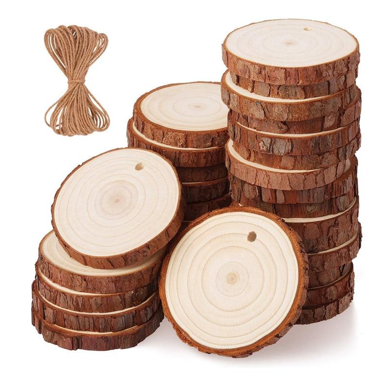 10 шт. из натуральной древесины сосны Ломтики DIY ремесло Незаконченные деревянные комплект просверленные с отверстием круги искусство вечер...