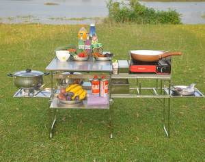 Camping Stove Table Cooker Self-Driving-Equipment Mobile Kitchen Stainless-Steel Outdoor