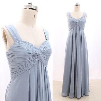 MACloth Sky Blue A-Line Strap Floor-Length Long  Chiffon Prom Dresses Dress XXL 268806 Clearance