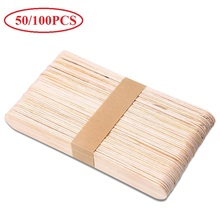 Hot 50/100PCS Disposable Wooden Tongue Depressors Wooden Hair Removal Tattoo Waxing Spatula Stick Tongue Beauty Tools