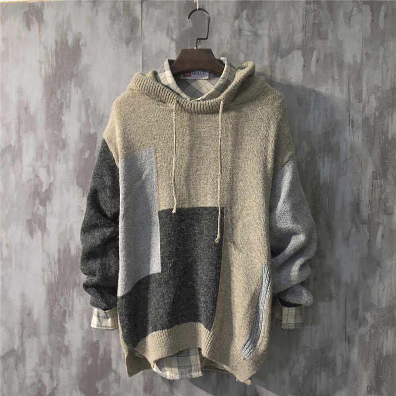 일본 스타일 스웨터 망 캐주얼 패치 워크 긴 소매 니트 스웨터 후드 탑 Streetwear 니트