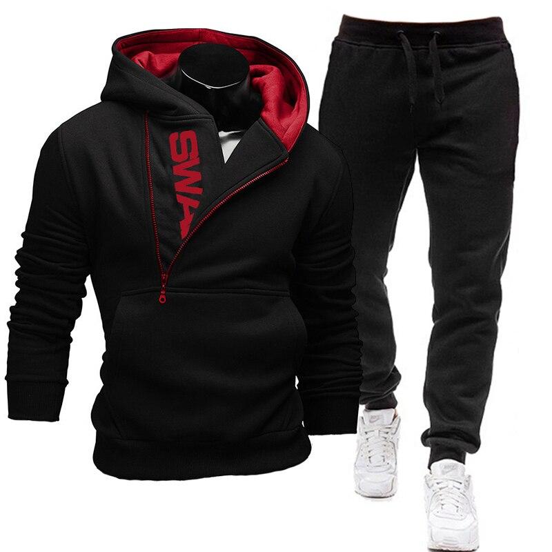 2021 2 peças conjunto moletom + sweatpants moletom com zíper hoodies dos homens casuais roupas ropa hombre tamanho S 3XL|Conjuntos Masculinos|   -