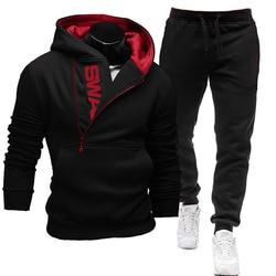 2021 Tracksuit Men 2 Pieces Set Sweatshirt + Sweatpants Sportswear Zipper Hoodies Casual Mens Clothing Ropa Hombre Size S-3XL