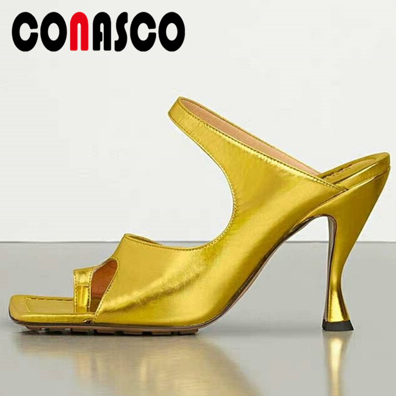 CONASCO 2020 Summer New Arrival Women Sandals Slippers Pumps Fashion Sexy Concise Genuine Leather High Heels Casual Shoes Woman|High Heels|   - AliExpress