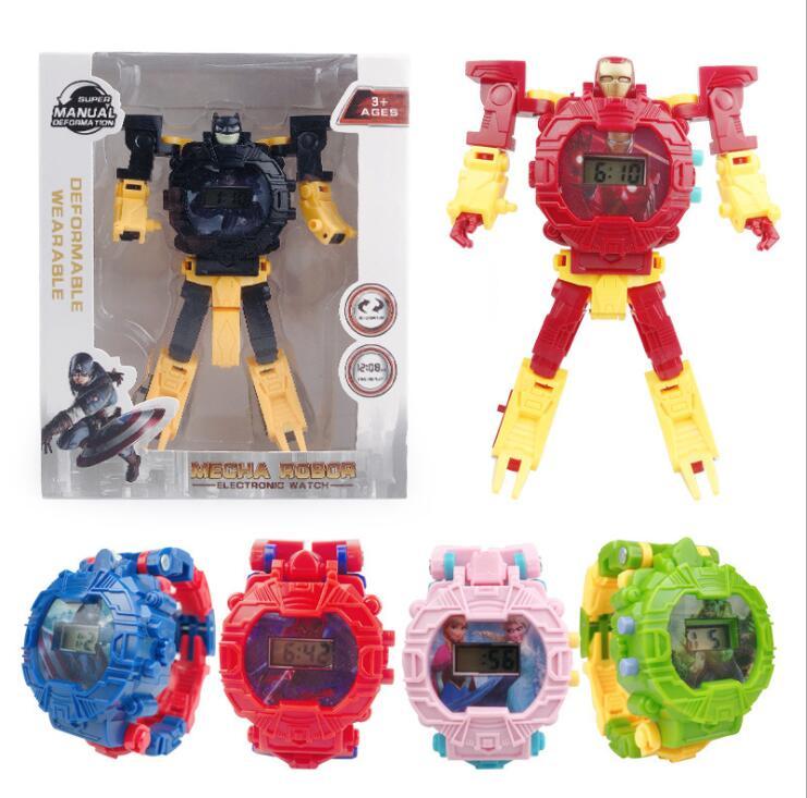Ironman Batman Transformation Wristwatch Toy Mecha Robot Electronic Watch Children Sports Cartoon Watches Kids Xmas Gifts #2680