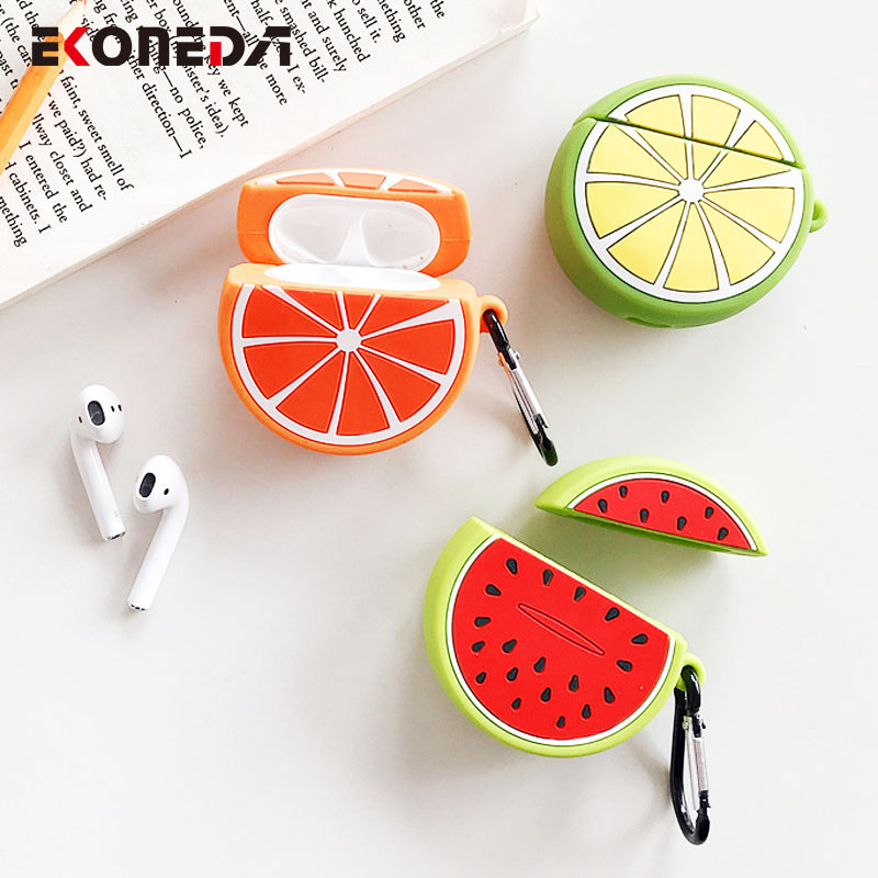 EKONEDA Fresh Fruit Silicone Earphone Case For Airpods Case Lemon Orange Watermelon Cover For Airpods