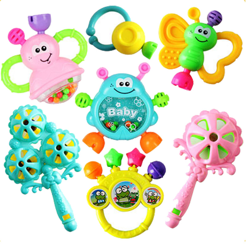 7 Pcs Teether Rattles Cute Cartoon Animal Hand Bells Rattle Early Learning Educational Toys for Newborn Baby Toys 0 12 Months cartoon