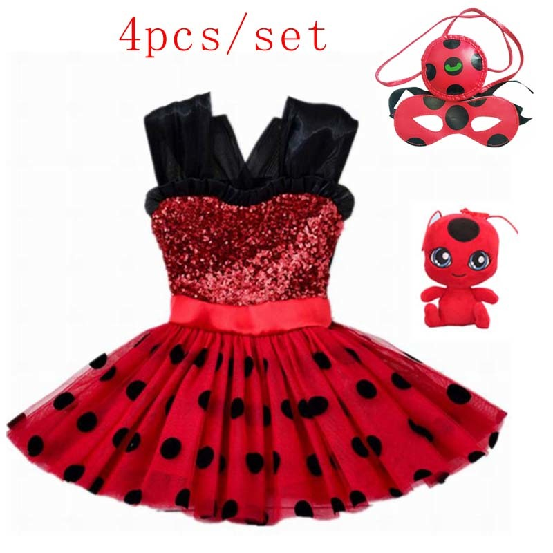 Marinette Girls Ladybug Costume Baby Girl Birthday Party Tutu Dress Kids Halloween Lady Bug Costumes Outfit Ladybird Fancy Dress