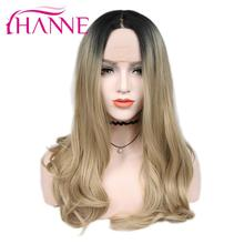 HANNE Brown/Blonde Ombre Wig Long Wavy Heat Resistant Fiber Synthetic Hair Wig Lace Front Wigs For Black/White Woman