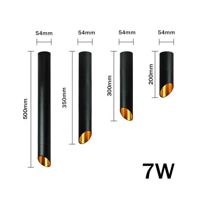 [DBF] أسود / أبيض طويل أنبوب سلك معلق الكوز سقف بقعة ضوء عكس الضوء 7W 3000K / 4000K / 6000K سطح الخيالة النازل AC220 2