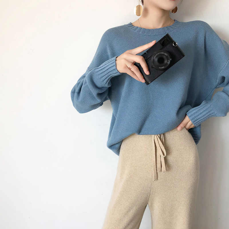 Cashmere Solid Thick Sweater Women Winter Pullovers O-Neck Korean Knitwear Female Lazy knit sweaters 2020 Spring Ladies Pullover