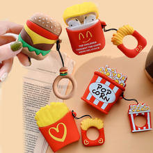 For Apple AirPods Earpods French Fries Case 3D Simulation Food Burger Pop Corn Wireless Earphone Headset Cover for Airpods 2