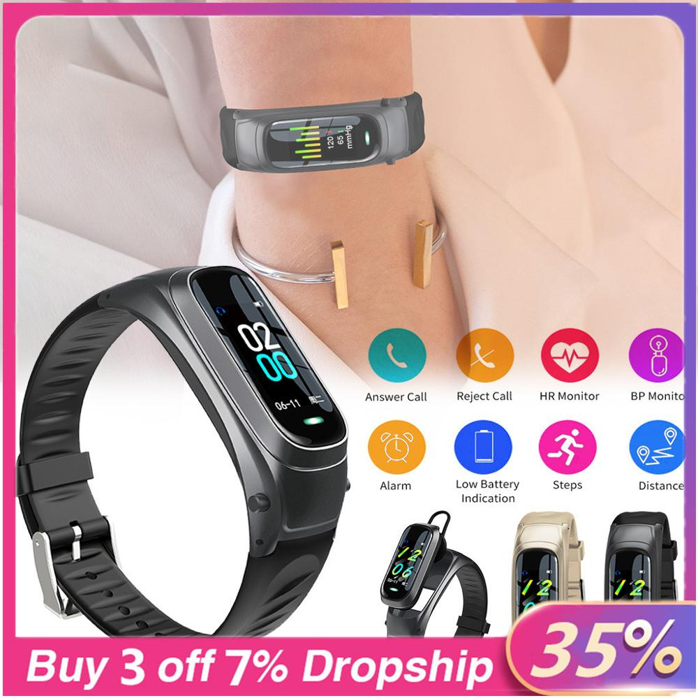 Best Selling 2020 Products Smart Watch For Android Ios Headset 2 In 1 Sports Calorie Wristband Smart Watch Support Dropshipping
