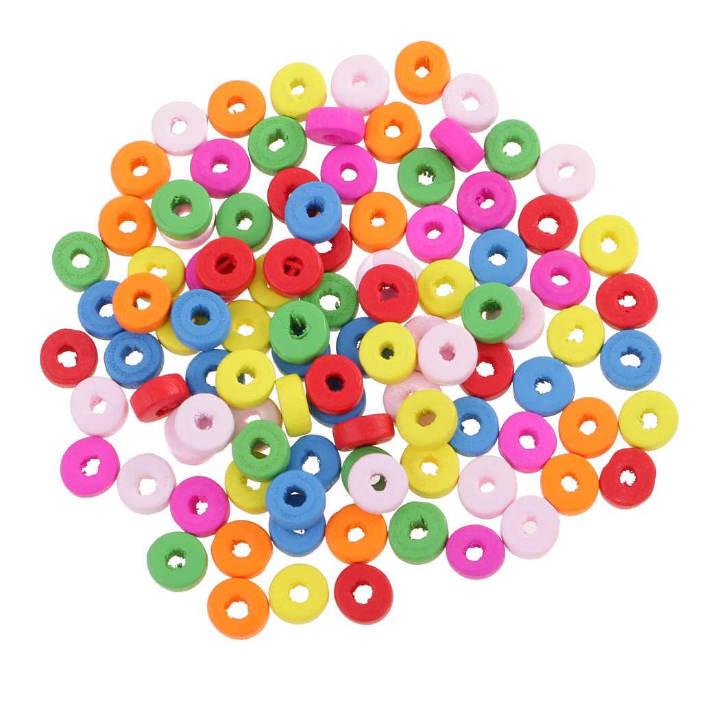 100 Uds cuentas de madera de colores Rondelle agujero grande para la fabricación de joyas 8mm joyería de moda