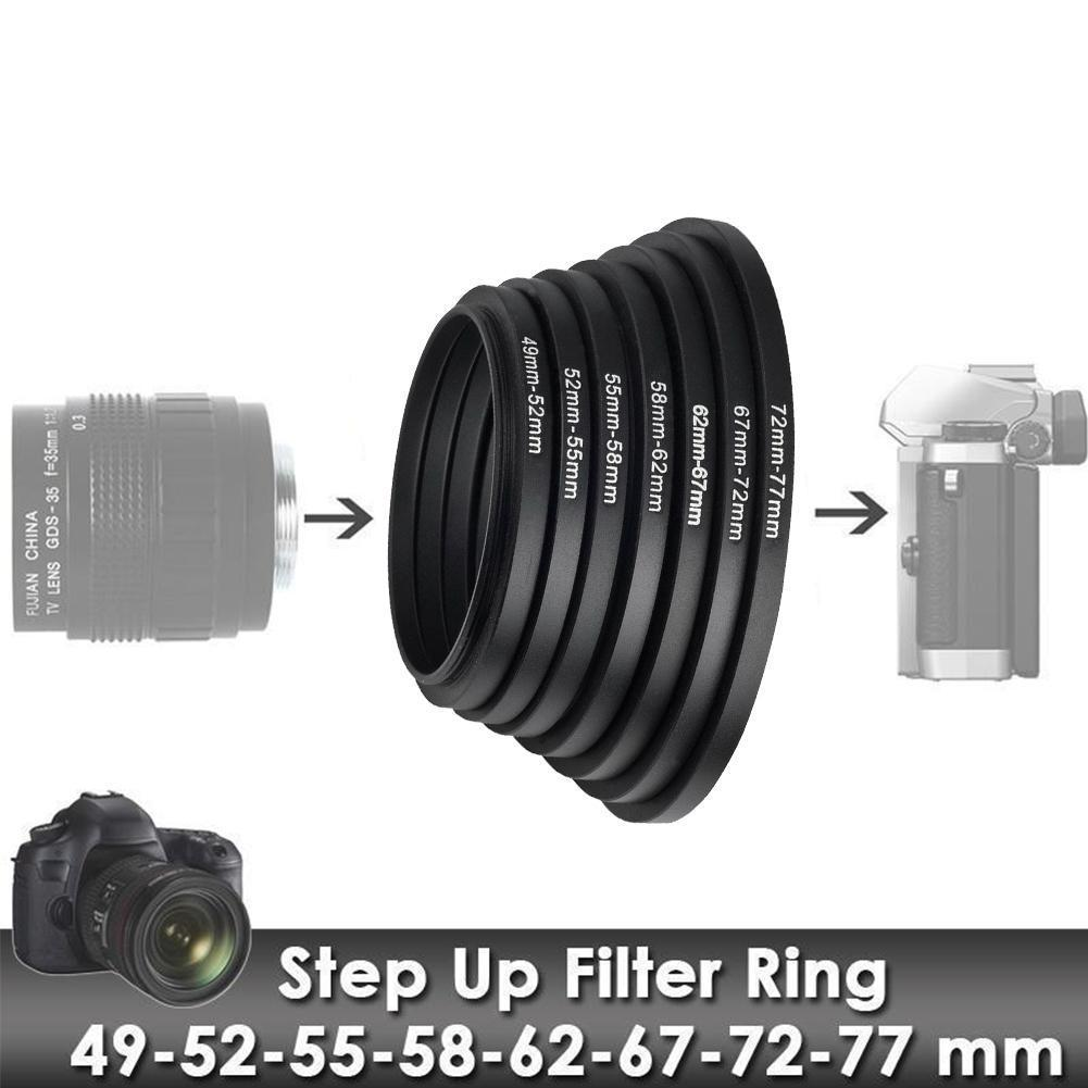 1 Stks 49-52mm 52-55mm 55-58mm 58-62mm 62- 67mm 67-72mm Adapter Metalen 72-77mm Came Voor Mount Lens Up 77-82mm Step Ring Y9O2