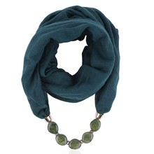 Women Fashion Solid Color Necklace Pendant Scarf Ethnic Style Soft Necklace Scarf Femme Accessories New Arrival#P15