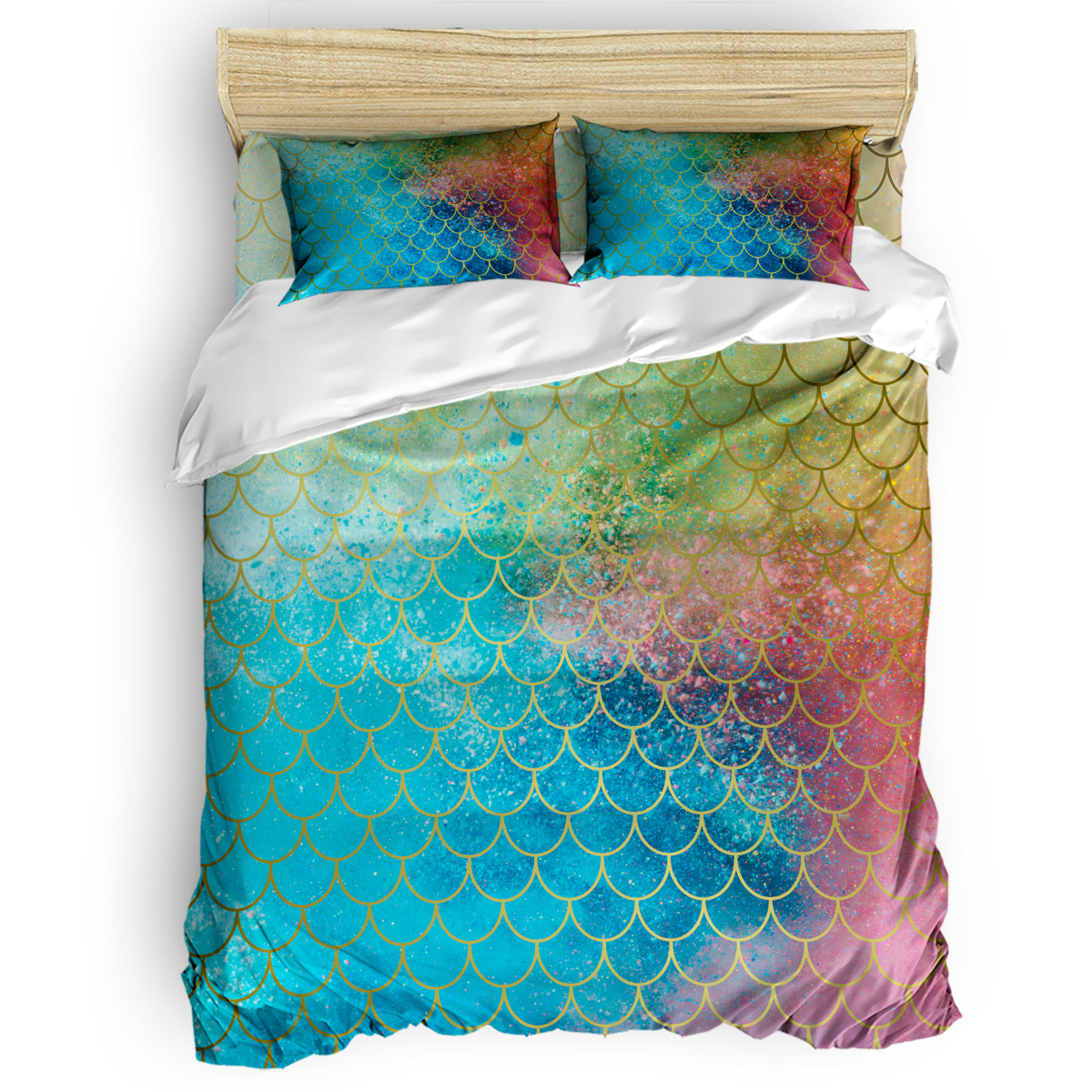 Colorful Mermaid Scales Duvet Cover Set Vintage Floral Art Design Collection Of 3/4pcs Bedding Set Bed Sheet Pillowcases Cover