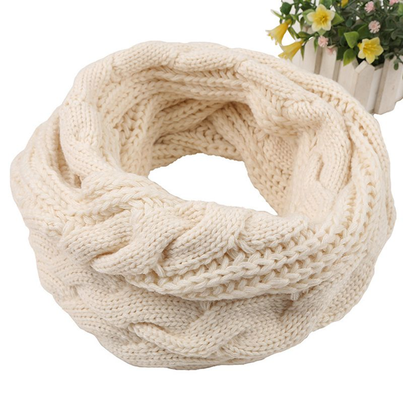 Autumn And Winter Warm Thickening Bib Two Circles Wool Twist Scarf Winter Ladies Knitted Collar