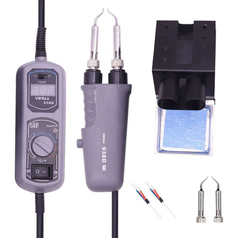 YIHUA 110V/220V EU/US PLUG 938D Portable Hot Tweezers Mini Soldering Station Hot Tweezer For BGA SMD Repairing