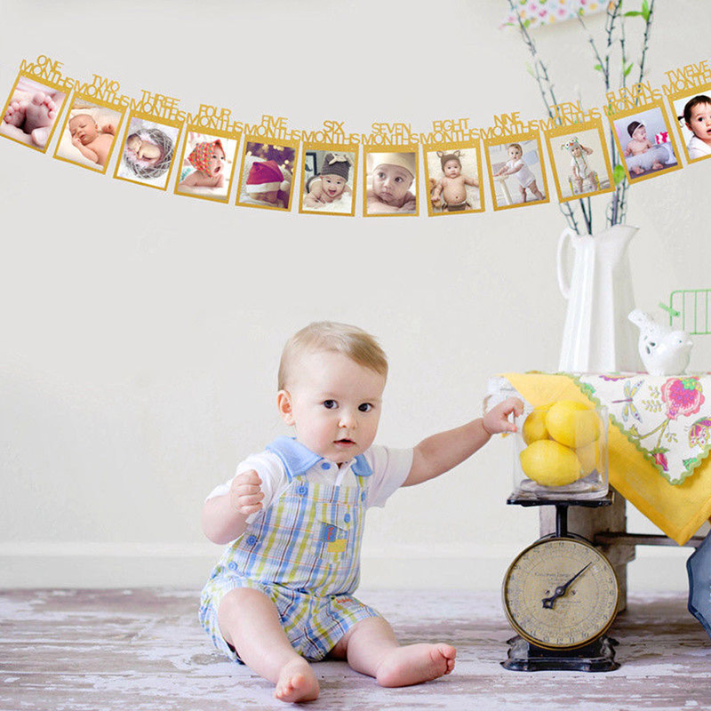 12Pcs 0-12M DIY Baby Room Decor Photo Frame Paper Picture Holder Wall Decoration For Wedding Baby Shower Birthday Party Photos