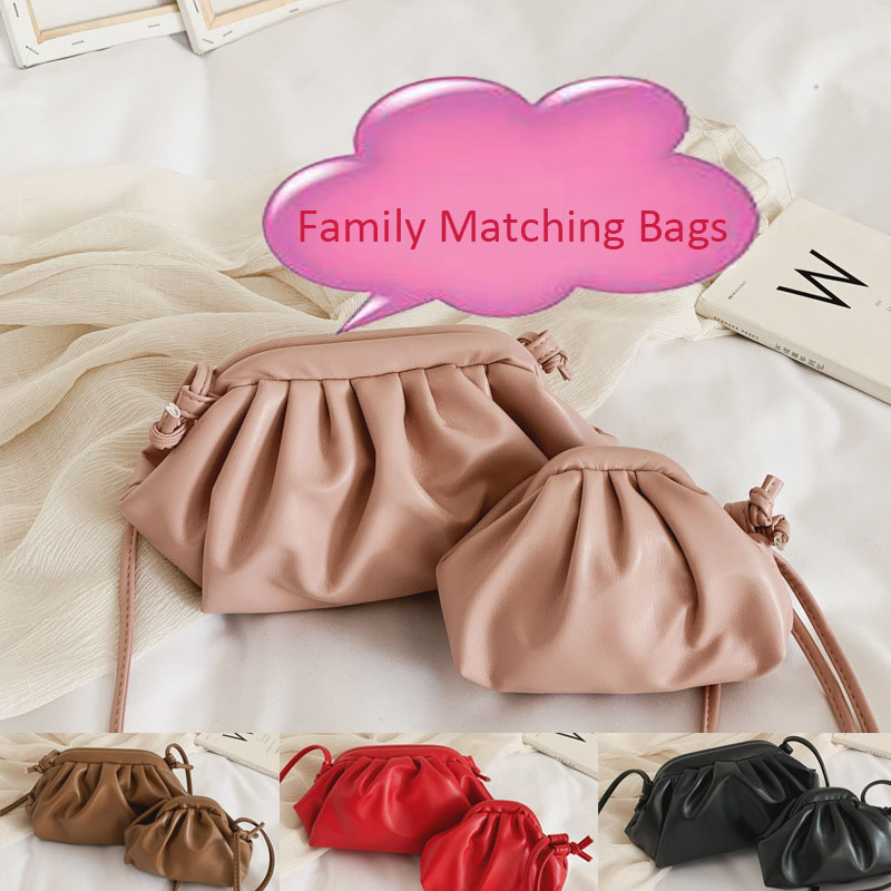 Mother And Me Bags Solid Hobos Fashion PU String Coin Purse Handbag Wallet Girl Bag Kawaii Kid Shoulder Bag Lolita Baby Bags