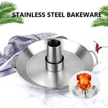Stainless Steel Roast Chicken Pan Barbecue Pan Grilling Baking Removable Round Cone Baking Pan Outdoor Picnic BBQ Utensils