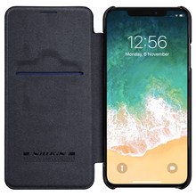 NILLKIN for Apple iPhone Xs Max Flip Case Qin Series Luxury PU Leather Plastic Back Cover XR X Xs Max Case(China)