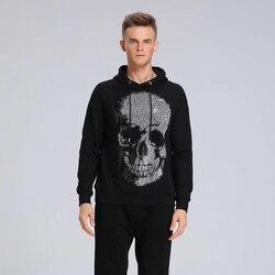 Мужская винтажная Толстовка с черепом, модная Толстовка в стиле хип-хоп со стразами, Осень-зима 2019