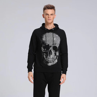 2019 Men New Fashion Autumn Winter Rhinestone Skull Hoodies Men Vintage Streetwear Hip Hop Sweatshirt Mens Brand Clothing