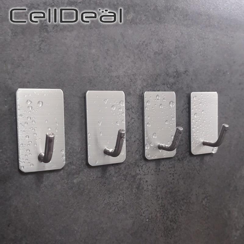 1Pc Self Adhesive Stainless Steel Wall Hook Key Bag Hanger Sticky Kitchen Home Bathroom Storage Hanging Holder Waterproof Towel