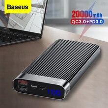 Baseus 20000 mAh Charge Rapide 3.0 Puissance Banque 20000 mAh Type C PD QC3.0 Chargeur de Batterie Externe Portable Powerbank Pour Xiaomi Mi
