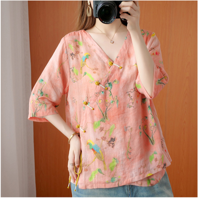 Oversized Women Cotton Linen Blouses Shirts New 2020 Summer Vintage Style V-neck Floral Print Female Loose Casual Tops S1668 7