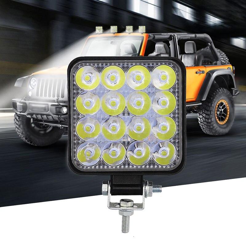 12V 48W Voiture 16LED Projecteur Travail Brouillard Feux 6000K 1000LM For Camion