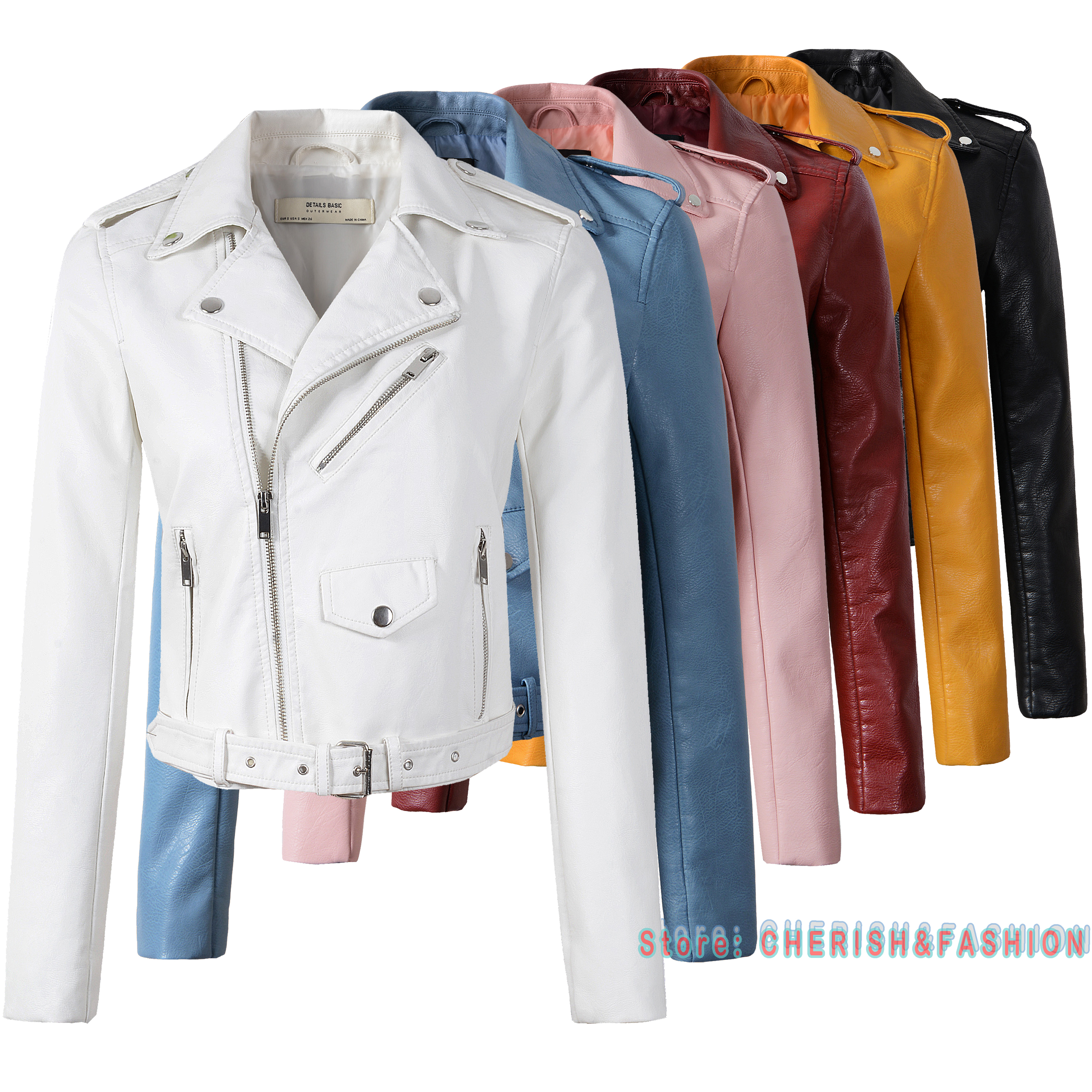 2020 New Fashion Women Smooth Motorcycle Faux Leather Jackets Ladies Long Sleeve Autumn Winter Biker Streetwear White Black Coat