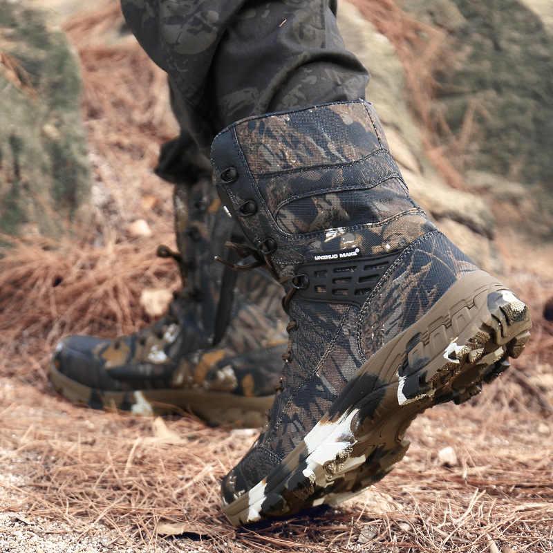 Erkekler çöl taktik askeri botlar Mens iş güvenliği ayakkabıları ordusu kamuflaj savaş botları Militares Tacticos Zapatos erkek ayakkabısı