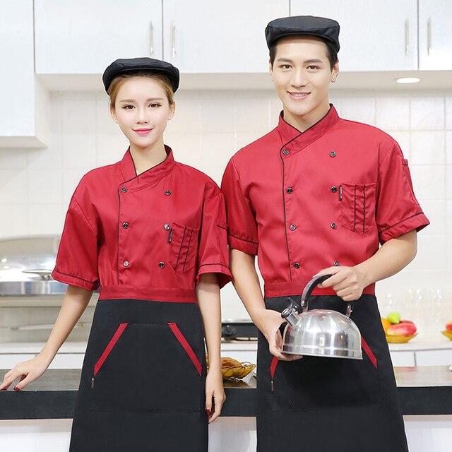 Chefs Short Sleeve Jacket Hat Apron 3